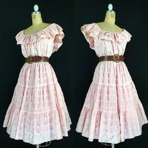 60s Seersucker Tiered Rockabilly Patio Swing Dress